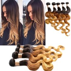 """18""""20""""22"""" 3Bundles Blonde Ombre Real Human Hair Extensions Body Wave Hair Wefts #WIGISS #HairExtension"""
