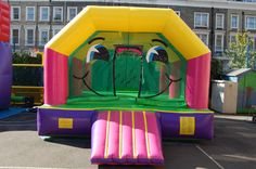 Dimensions of this super smiley castle are:  15ft long x 14ft high x 20ft long, - info@bananabouncycastles.co.uk