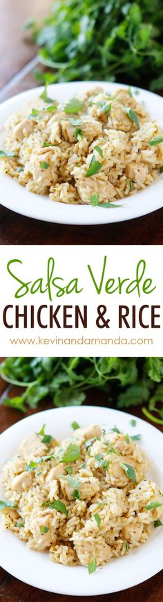 Salsa Verde Chicken & Rice - So easy! Chicken, rice, salsa verde, and chicken broth (or water). All cooks in one pot, even the rice! Perfect for a quick and easy weeknight meal. Turkey Recipes, Mexican Food Recipes, Chicken Recipes, Dinner Recipes, Healthy Chicken, Salsa Verde, Easy Weeknight Meals, Easy Meals, Food Dishes
