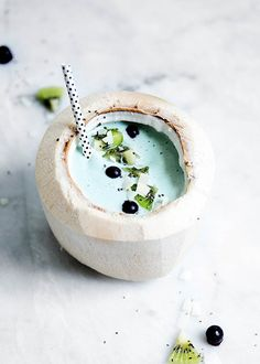 blue lagoon smoothie in a coconut