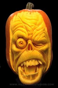 Excuse me Pumpkin Sculpture/Carving by Ray Villafane