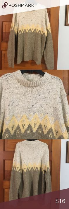Beautiful sweater This sweater is absolutely beautiful and is made of cotton wool nylon and acrylic. it is a size large it is pre-loved but has lots of wear left. You can machine wash it on cold. St. John's Bay Sweaters Crew & Scoop Necks