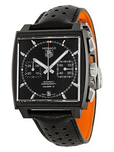 Men's Monaco Chronograph Leather Watch by Tag Heuer at Gilt