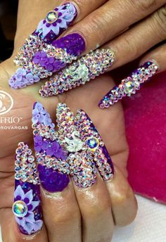 Purple rhinestone nails @nails_by_verovargas