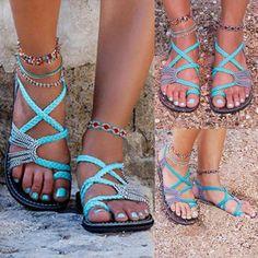 10842388f9 Boho Women Flat Flip Flops Sandals Summer Bandages Casual Beach Shoes Cozy  Shoes  UnbrandedGeneric