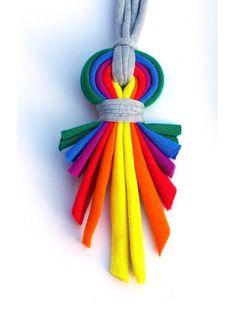 Rayas de collar/arco iris/reciclado/hecho a mano por cirrhopp