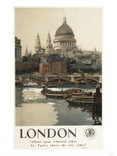 Great Western Railway poster showing St Pauls Cathedral and the River Thames. Artwork by Frank Mason Canvas Print Framed, Poster, Canvas Prints, Puzzles, Photo Gifts and Wall Art Posters Uk, Train Posters, Railway Posters, Poster Prints, Art Prints, Poster Retro, Poster Poster, British Travel, National Railway Museum