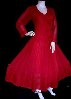 ISHIEQA's Red Georgette Angrakha Style Anarkali Kurti - MV0901D Red Kurti, Pink Kurti, Yellow Kurti, Cotton Anarkali, Anarkali Kurti, Green Cotton, Black Cotton, Girl Fashion, Fashion Dresses