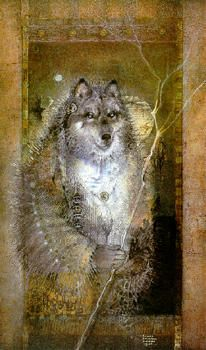Grandfather Wolf and his lightning stick by Susan Seddon-Boulet Archival Prints and Original Art - Turning Point Gallery