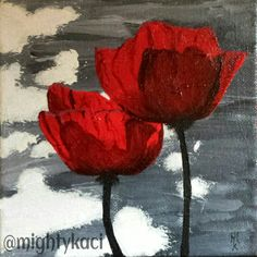 poppies, acrylic on canvas, 6x6in #MightyKaci