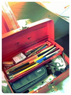 writing/sketching/calligraphy vintage toolbox, via Flickr.