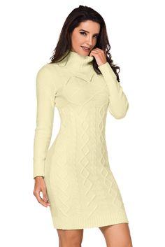 3ff1a1305e3 Apricot Cable Knit High Neck Sweater Dress