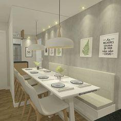 A luminária e a dimensão do espaço chamou mais atenção Dining Room Bench Seating, Banquette Seating, Dining Nook, Dining Table In Kitchen, Home Decor Kitchen, Kitchen Interior, New Kitchen, Home Room Design, Dining Room Design