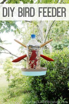 Easy DIY Bird Feeder using a water bottle!  Summer Fun With Kids