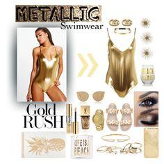 """Metallic Swimwear"" by pretty-sassy ❤ liked on Polyvore featuring Nasty Gal, Yves Saint Laurent, Boohoo, Gucci, Michael Kors, Express, GUESS, Mykita, Steve Madden and Nadri"