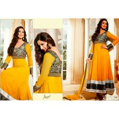 Semi-stitched georgette anarkali suit with matching bottom,lining and dupatta