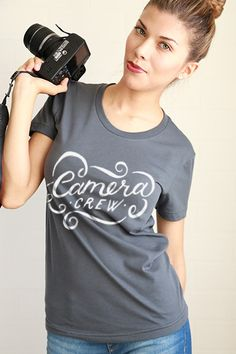 Camera Crew Women Tee - runs small, probably need L Tshirt Photography, Photography Gifts, Love Photography, Gifts For Photographers, Female Photographers, Yearbook Shirts, Photographer Outfit, Cute Camera, Girls With Cameras