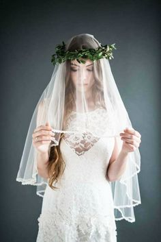 Ivory Tulle Drop Veil - CATHERINE
