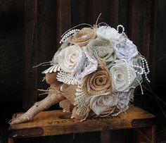 Toile de jute Bouquet, Bouquet de mariage, toile de jute sauge, Bouquet de mariage en toile de jute, toile de jute, dentelle Bouquet, Bouquet rustique toile de jute, toile de jute, mariage, mariée