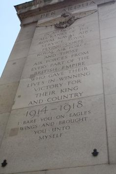 Inscription on Royal Air Force Memorial on The Victoria Embankment.