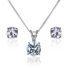The Silvia Real Silver DiamonFlash® Cubic Zirconia Earrings & Necklace Set
