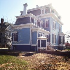 The Blue Lady~A Victorian Treasure Victorian Porch, Victorian Homes, Blue Houses, Mystery Of History, House Exteriors, Edwardian Era, My Dream Home, Family History, Craftsman