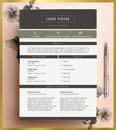 Creative Resume Template Editable in MS Word and Pages.
