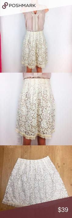 "REBECCA TAYLOR cream lace skirt Beautiful, delicate and pretty cream colored lace skirt from Rebecca Taylor.  Frayed chiffon hemline detailing, hidden back zipper, smooth nude colored lining. Super cute skirt for work or play!  Condition: like-new, excellent condition, no flaws found.  Waist: 14.5"" Length: 21.5"", ends above knees  Fabric: 85% cotton, 15% nylon, lining 100% acetate Rebecca Taylor Skirts A-Line or Full"