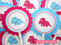 Dinosaur Cupcake Toppers - Triceratops Party Decorations - Colors Customizable. $12.00, via Etsy.