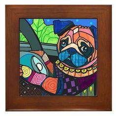 Pug Driving Car Dog Folk Art Ceramic Framed Tile by Heather Galler - Ready To Hang Tile Frame Gift