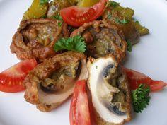 Žampiony v orientálním těstíčku se zázvorovými bra. Baked Potato, Potatoes, Meat, Chicken, Baking, Ethnic Recipes, Food, Lunches, Potato