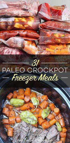 Kelly from New Leaf Wellness has a great list of 31 Paleo Crockpot Freezer Meals. Paleo Freezer Meals, Paleo Crockpot Recipes, Whole Food Recipes, Cooking Recipes, Diet Recipes, Cooking Tips, Paleo Food List, Easy Paleo Dinner Recipes, Paleo Appetizers
