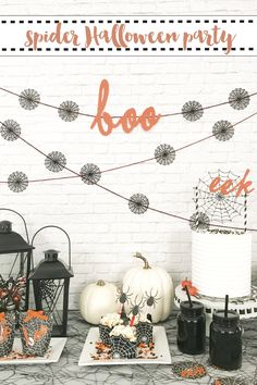 This darling Spider Halloween Party by Everyday Party Magazine and @pineappleprco is full of simple DIY elements. @MarthaStewart #MarthaStewart #Halloween #SpiderHalloween #HalloweenParty