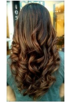 Long hair, styling creme, large hot rollers, light hold hair spray and a large barrel curling iron for touch up= Color is dark warm brown with caramel & warm auburn hi-lites.