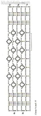 Голубой вязаный крючком палантин Размер: 140 х 42 см МАТЕРИАЛЫ:200 г пряжи ADELIA «SLADE» (99% акрил, 1% люрекс,378 м /ЮОг) голубого цвета. Крючок № 3. Как вязать палантин Начало вязания — от короткой стороны палантина. Основной узор вязания — сх. 1. Свяжите 85 ВП - 6 ВП подъема и вяжите по сх. 1, повторяя ряды рапорта по вертикали. Свяжите палантин на желаемую длину. По краям палантина выполните бахрому. Каждая кисть бахромы длиной около 15 см.