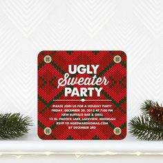 Get out your favorite sweater! Ugliest Sweaters - Party Invitations in bright Tomato Red Holiday Parties, Holiday Cards, Christmas Cards, Holiday Party Invitations, Unique Invitations, Ugly Sweater Party, Tiny Prints, Oldies But Goodies, Custom Cards