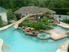Love the slide and the way it turns into a lazy river.