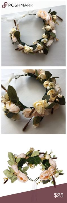 Floral Crown Floral Crown - Wire crown with Peach colored flowers, leaves, and floral accents. Open back style with sheer white ribbon closure. Wire allows for an adjustable fit. Can be worn as crown or headband style. Accessories Hair Accessories
