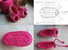 DIY: Crochet Baby Booties Pattern - Step by step - Crazzy Crafts Crochet Baby Sandals, Crochet Baby Shoes, Crochet Baby Booties, Crochet Slippers, Knit Shoes, Baby Knitting Patterns, Crochet Patterns, Crochet Shoes Pattern, Crochet Patron