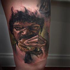 Jules & the Big Kahuna Burger Tattoo - http://giantfreakintattoo.com/jules-the-big-kahuna-burger-tattoo/