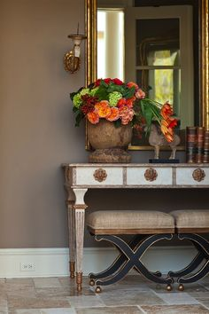 Adding flowers to an entryway can make a huge difference when coming home!