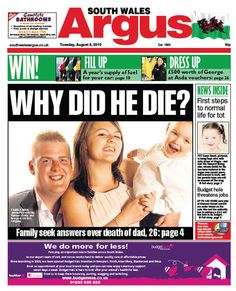 @South Wales Argus FRONT PAGE 05.08.13: Family want answers over Cwmcarn school death