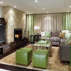 Classic meets rustic basement...this is a Candice Olson design, it blends masculine texture with a feminine touch!