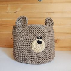 Your place to buy and sell all things handmade Crochet Bear, Crochet Home, Hand Crochet, Cat Coasters, Crochet Storage, Bear Nursery, Alice In Wonderland Party, Knitting Projects, Nursery Decor