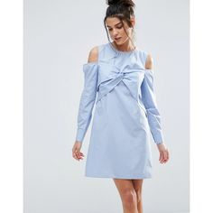 ASOS Cold Shoulder Origami Detail Cotton Shirt Dress (2,195 PHP) ❤ liked on Polyvore featuring dresses, blue, zipper dress, cotton shirt dress, blue dress, cut out shoulder dress and open shoulder dress