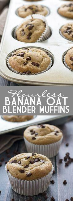 Flourless Banana Oat Blender Muffins   www.motherthyme.com