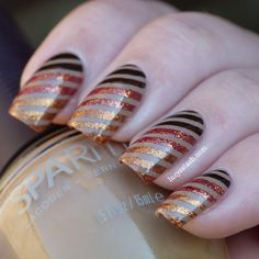 Lucy's Stash: Nail Art. Strips done using foil tape. Need to look up how to use foil tape and then where to buy the tape