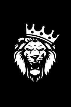 Lion with crown Logo Lion Wallpaper Iphone, Dark Phone Wallpapers, Graphic Wallpaper, Black Wallpaper, Bulls Wallpaper, Lion Head Logo, Lion Head Tattoos, Lion Images, Lion Pictures