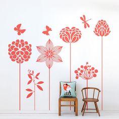 Vinilo decorativo de pared con dibujos de flores y mariposas http://masquevinilo.com/naturaleza/1052-vinilo-decorativo-flores-y-mariposas.html