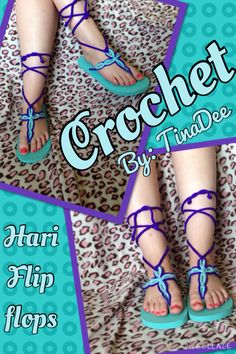 Crochet Hari style flip flops  Video pattern https://www.youtube.com/embed/ITbb0-XS_ss?autoplay=1&FORM=VIRE1&MID=2500&PC=APPL I had to adjust it a bit to fit my flip flop base. I also used a size c crochet hook and caron simply soft yarn.